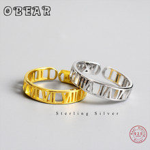 OBEAR 100% 925 Sterling Silver Roman Numerals Open Finger Ring For Women Fashion Jewelry Gift