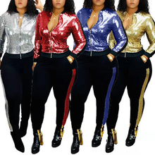 Sequin Tracksuits Women Set Autumn Winter Outfits Long Sleeve Hoodie Top+Pant Sw
