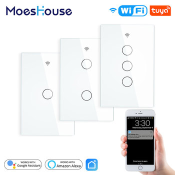 WiFi Smart Wall Light Switch Glass Panel RF433 Smart Life Tuya APP Remote Control Works With Alexa Google Home 1/2/3 Gang usa au wifi smart light wall touch switch interruptor touch 1 2 3 gang tuya ewelink app control wifi smart wall switch