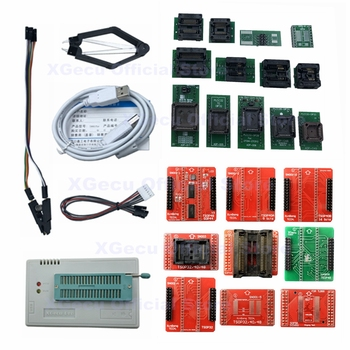 V10.08 XGECU 100% genuine TL866II PLUS Programmer ICSP FLASH\EEPROM\MCU \NAND + 22 adapters+IC test clip replaceTL866A tl866a