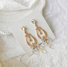 2019 the latest fashion accessories luxury crystal earrings exaggerated long dangler for women wedding dresses