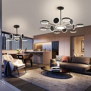 Image 5 - 50 ワット 66 ワット 98 ワットledシャンデリア照明現代の金または黒のリビングルームのベッドルームのホームデコぶら下げランプフィッティング調整 3 色