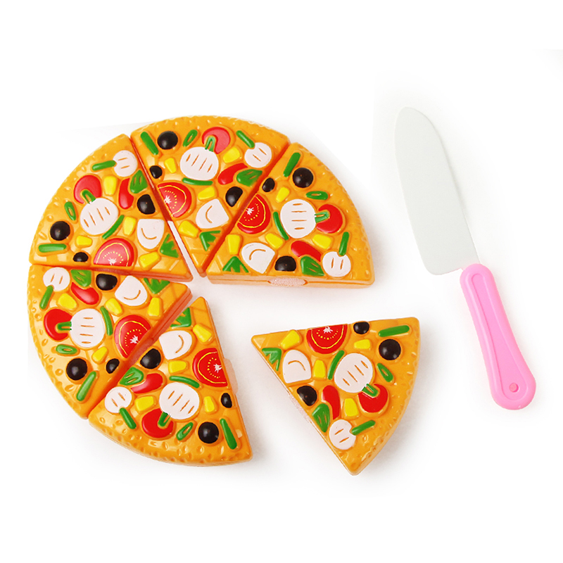 Children Kitchen Cutting Toys Plastic Pizza With Knife Pretend Play  Miniature Food Educational Toys For Kids Girls Gift