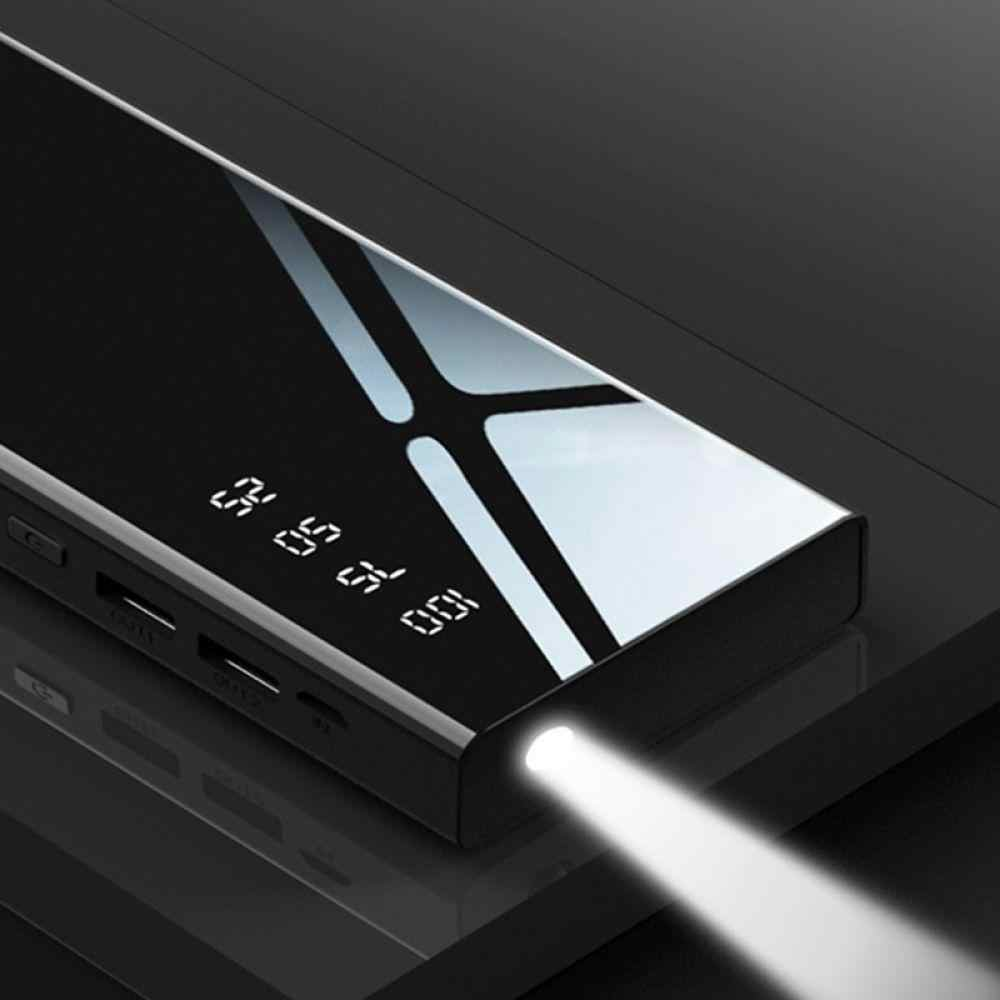 Batería Externa de 30000mah con espejo, batería externa LCD, cargador portátil de teléfono móvil, Powerbank para Xiaomi MI iPhone X Note8