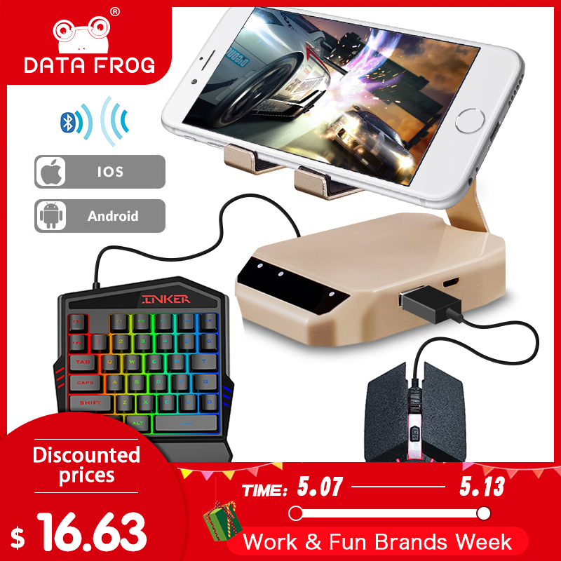 DATA FROG Bluetooth Keyboard Mouse Converter Stand PC Adapter Gaming PUBG Mobile Gamepad Controller Phone Holder For Android/IOS(China)