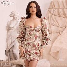 Ailigou New Summer Women's Strapless Print Lantern Sleeve Mini Dress Sexy Bodyco