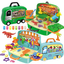 1 Set Play House Dinosaur World Color Glay Suitcase Toy DIY Fruit and Vegetable Plasticine Tool for Kids