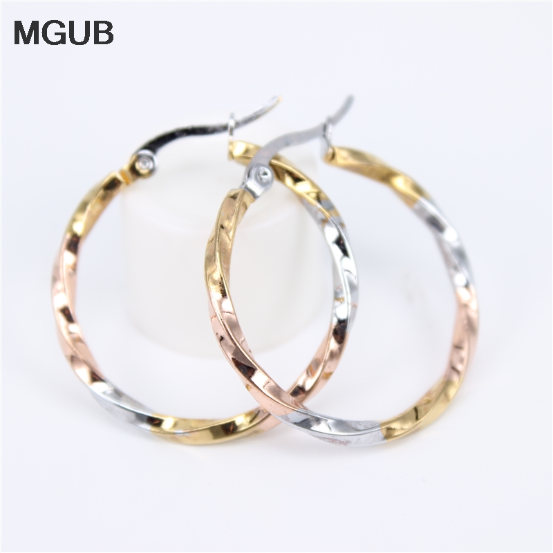 Stainless Steel Three Colors Diameter 30-50MM High Quality  Circle Hoop Earrings Simple Earring For Women Jewelry LH835