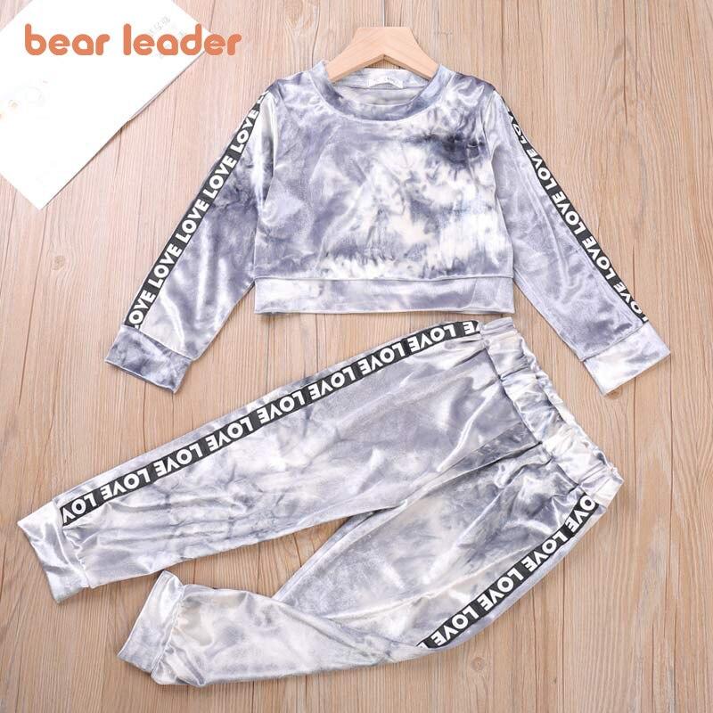 Bear Leader Letter Children Clothing Set Casual Spring Autumn Golden Velvet 2pcs Set Kids Tracksuit for Girls Boys Clothing Sets