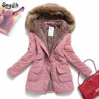 Chaqueta de invierno de las mujeres con capucha gruesa Parka Mujer de algodón acolchado abrigo largo, párrafo de talla grande 3xl Slim chaqueta Mujer la última