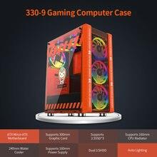 L'hôte de coque d'ordinateur de jeu rose/Orange 330-9 prend en charge la carte mère ATX MICROE ATX 240mm refroidisseur d'eau