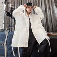XITAO Plus Size Pleated Ribbon Jacket Women Clothes 2019 Pocket Match All Fashion Elegant Coat Stand Collar Autumn New WQR1833