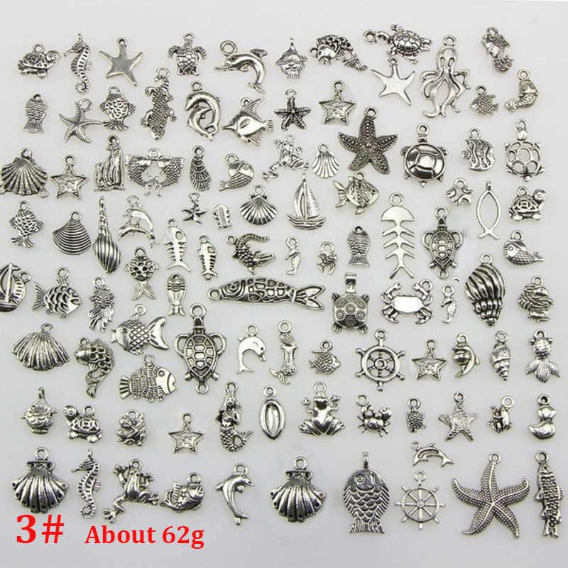 19 Styles mélangés Vintage tibétain argent perles pour la fabrication de bijoux Bracelet bricolage artisanat fermoirs crochets pendentif breloques