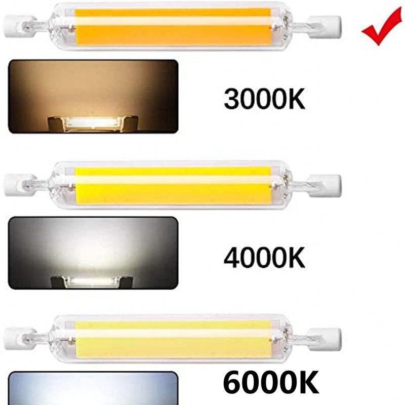Супер яркая лампочка с регулируемой яркостью светодиодный R7S Стекло трубка COB керамические лампочки 78 мм 118 мм R7S кукурузы лампа 15 Вт, 20 Вт, хи...