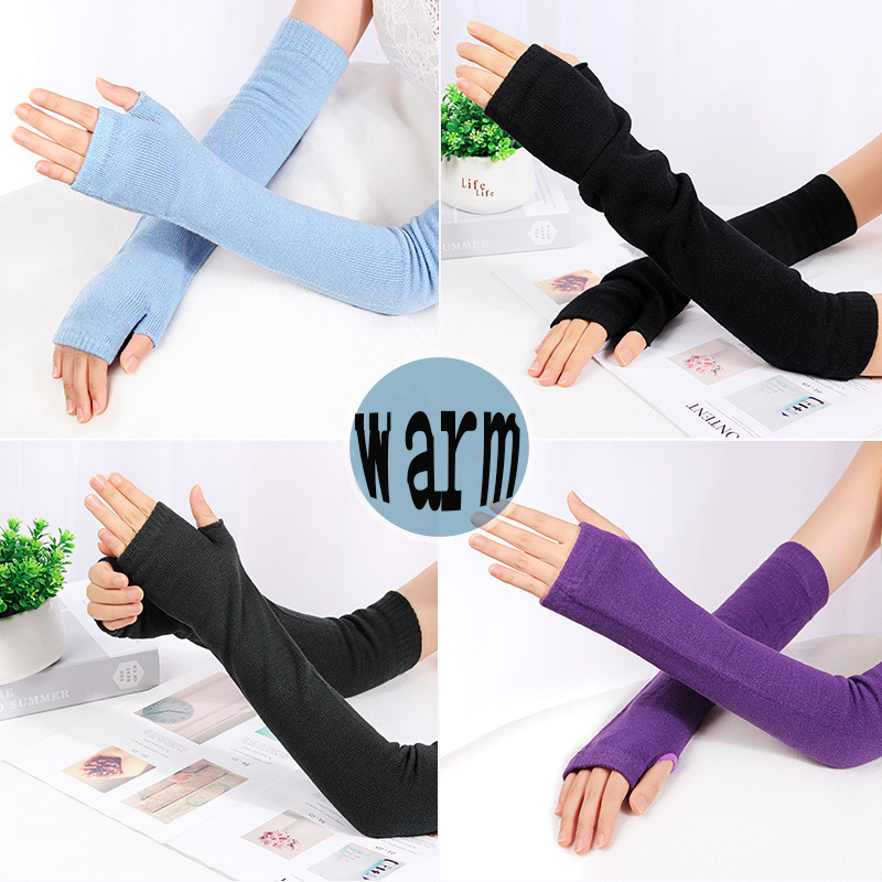 Women Winter Arm Warmers Fingerless Long Gloves Solid Warm Mittens Elbow Knitted Sleeves Cycling Glove Arm Cuff  Sleeves Arms