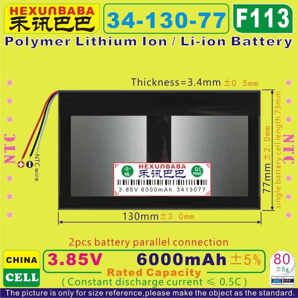 [F113] 3.85 v, 3.8 v, 3.7 v 6000 mah [3413077] ntc, bateria de íon de lítio de polímero/li-ion para tablet pc, telefone celular, celular; e-book