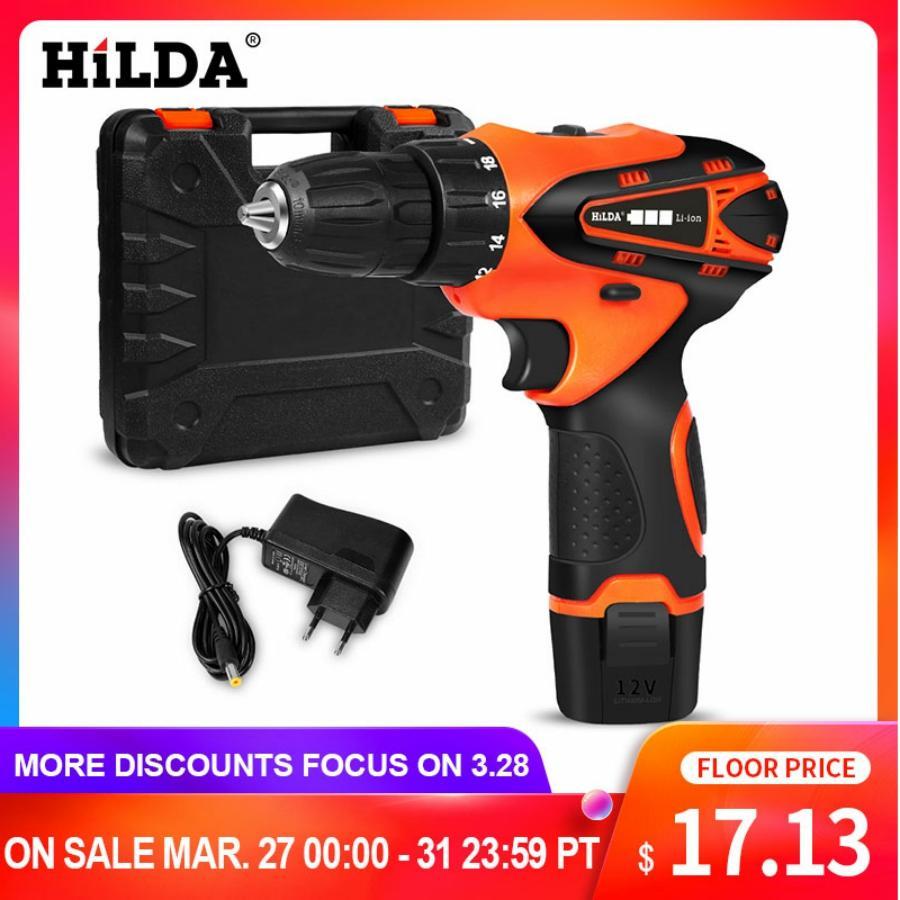 HILDA Cordless Screwdriver Electric Drill Lithium Battery  Mini Drill Cordless Screwdriver Power Tools Cordless Drill