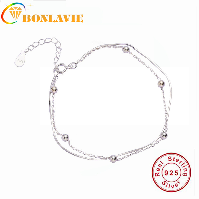 BONLAVIE Double Ball Beads Bracelet 925 Pure Silver Ladies Boudoir Gift Design Cool Breeze Brief Women Jewelry
