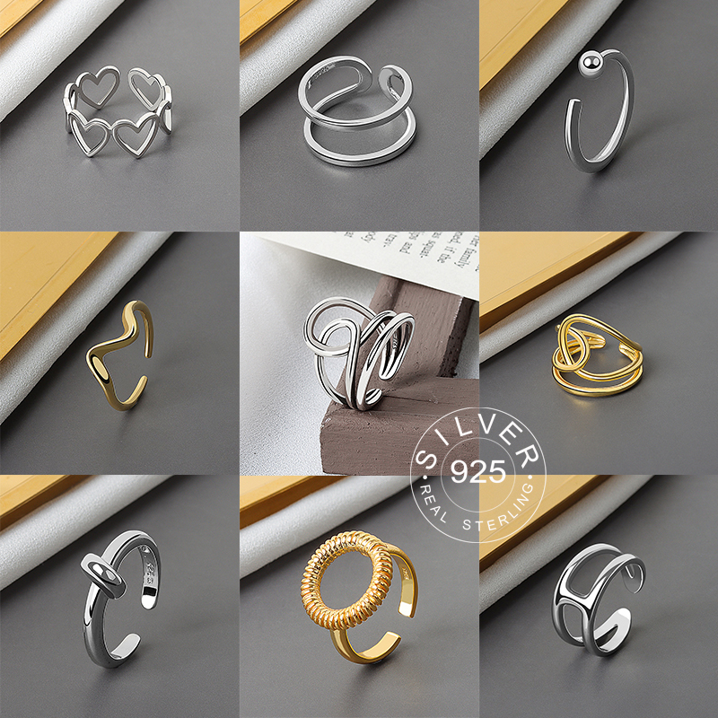 925 Sterling Silver Smooth Rings For Women interweave Jewelry Beautiful Finger Open Rings For Party Birthday Gift 1