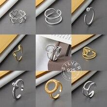 925 пробы серебряные гладкие кольца для женщин, плетеные ювелирные изделия, красивые открытые кольца на палец для вечеринки, подарок на день ...