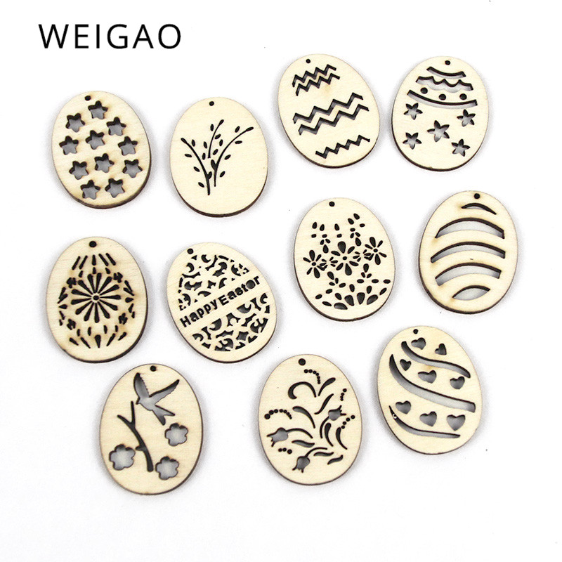 WEIGAO 25pcs Easter Decoration Wooden Ornaments Easter Eggs Wood Craft Hanging Pendants Happy Easter Party Decoration For Home