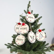 2019 Christmas Hanging Decoration Hollow Letters Wooden Round