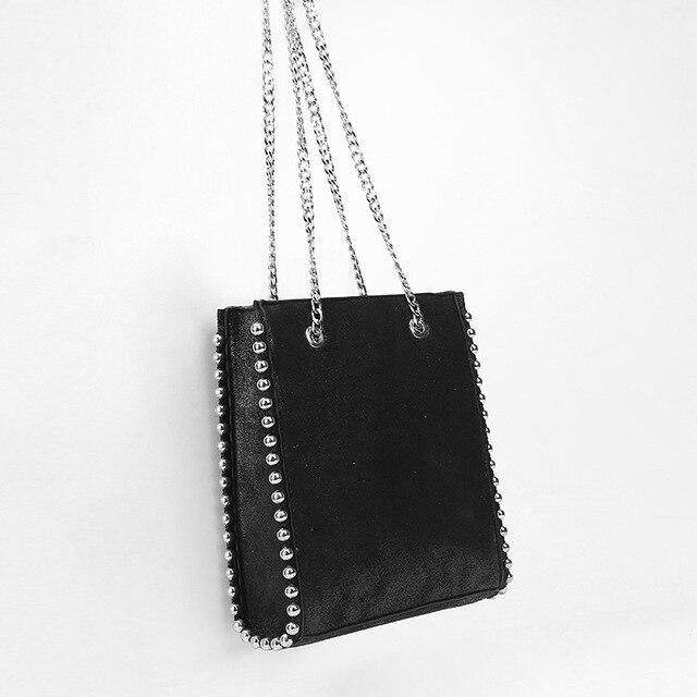 Rebite bola bolsa feminina 2019 outono e inverno nova maré rebite decoração sacola de compras bolsa casual bolsa de ombro corrente