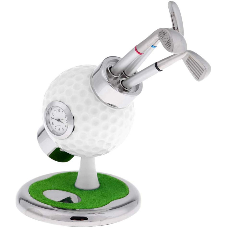Golf Ball Pen Stand With 3 Pens & Mounted Clock, Mini Desktop Golf Pencil Holder, Home Office Desk Ornaments, Great For Golfer S