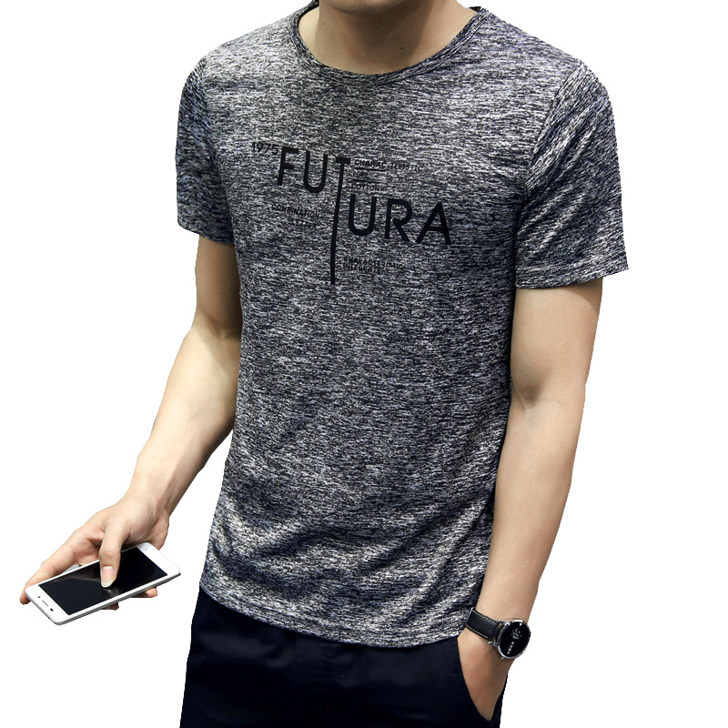 2020 Summer Men T-Shirt Casual Polyester Brand T-shirts Mens O Neck Man Korea Slim Style T-shirt For Boy Male 3XL Tshirts Homme