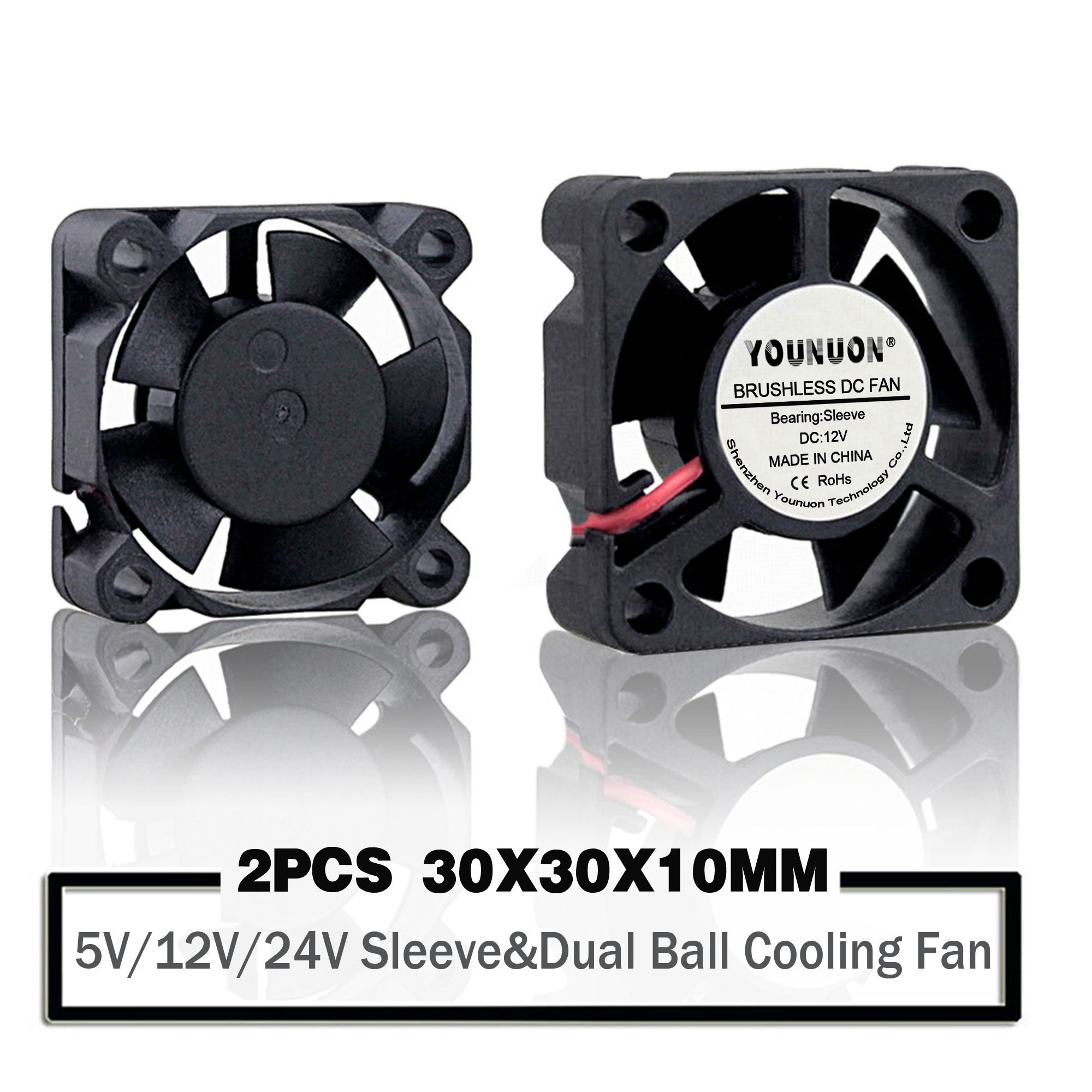 3010 DC Mini Brushless PC Fan 5V Ultra Tiny Micro 5 Blade 2Pin 30mm x30mm x10mm