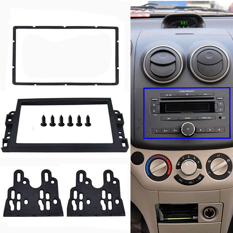 <font><b>2</b></font> <font><b>Din</b></font> <font><b>Car</b></font> <font><b>Radio</b></font> Frame Fascia Panel <font><b>Radio</b></font> Stereo DVD Player Install Trim Panel Kit <font><b>For</b></font> <font><b>Chevrolet</b></font> <font><b>Aveo</b></font> / Lova / Captiva / Epica image