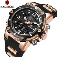 KADEMAN Fashion Men's Sport Quartz Watch Man Multifunction Waterproof Luminous Wristwatch Men Dual Dispay Clock Horloges Mannen