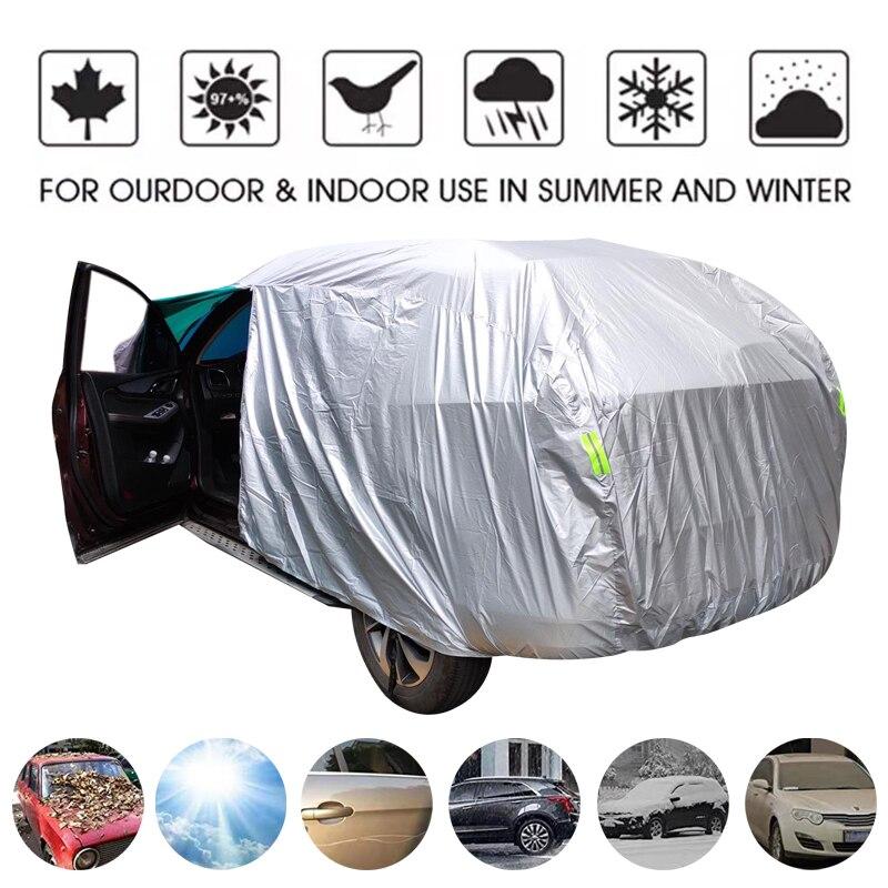 Universal SUV/ซีดานรถครอบคลุมกันน้ำกลางแจ้ง Sun Rain หิมะป้องกัน UV ร่มรถเงิน S-XXL อัตโนมัติกรณีฝาครอบ