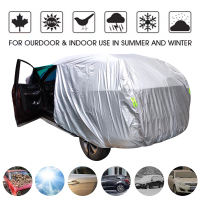 Universal SUV/Sedan Full Car Covers Outdoor Waterproof Sun Rain Snow Protection UV Car Umbrella Silver S XXL Auto Case Cover