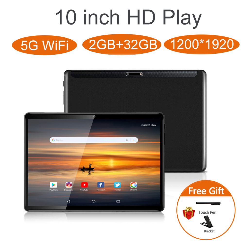 ZONKO 10 Inch Tablet Android 9.0 5G Wifi Tablets PC 2GB RAM 32GB ROM 1920*1200 Full HD Octa Core GPS Dual Cameras Fast Charge