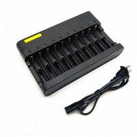 GTF-cargador de batería de iones de litio, 10 ranuras, 4,2 V, 18650 16340 14500, cargador de batería recargable