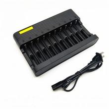 цена на GTF EU/US 10 Slots Charger 4.2V li-ion battery charger 18650 16340 14500 Li-ion Rechargeable Battery charger
