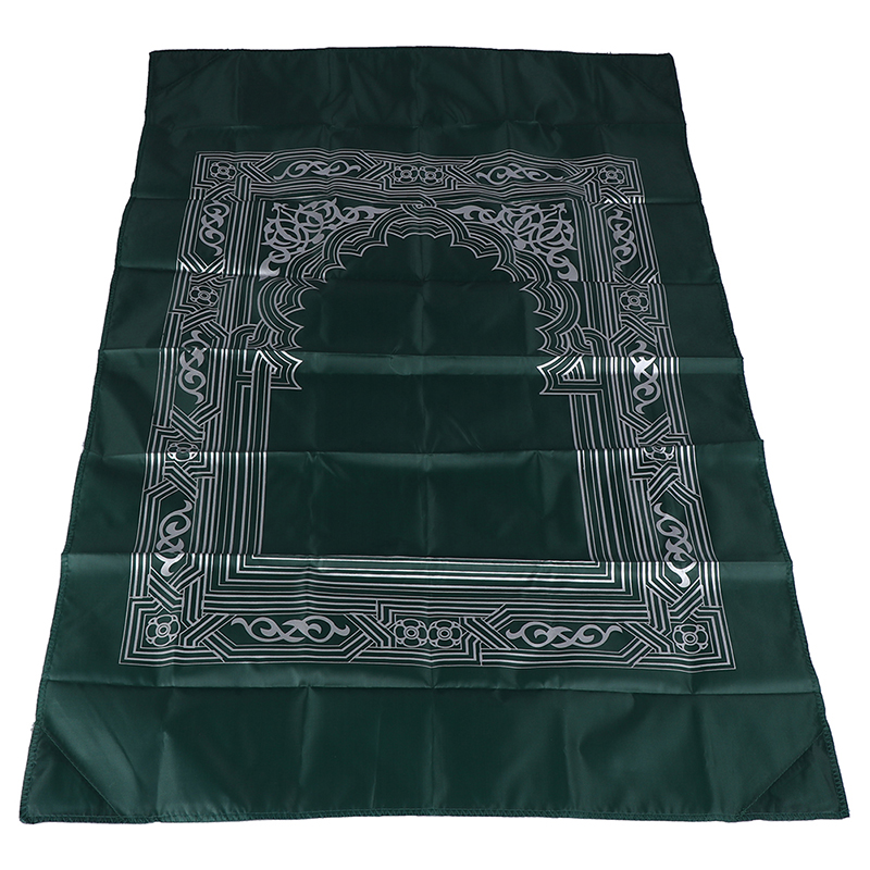 Image 2 - New Hot Muslim Prayer Rug Polyester Portable Braided Mats Simply  Print with Compass In Pouch Travel Home Mat Blanket 100*60cmRug   -