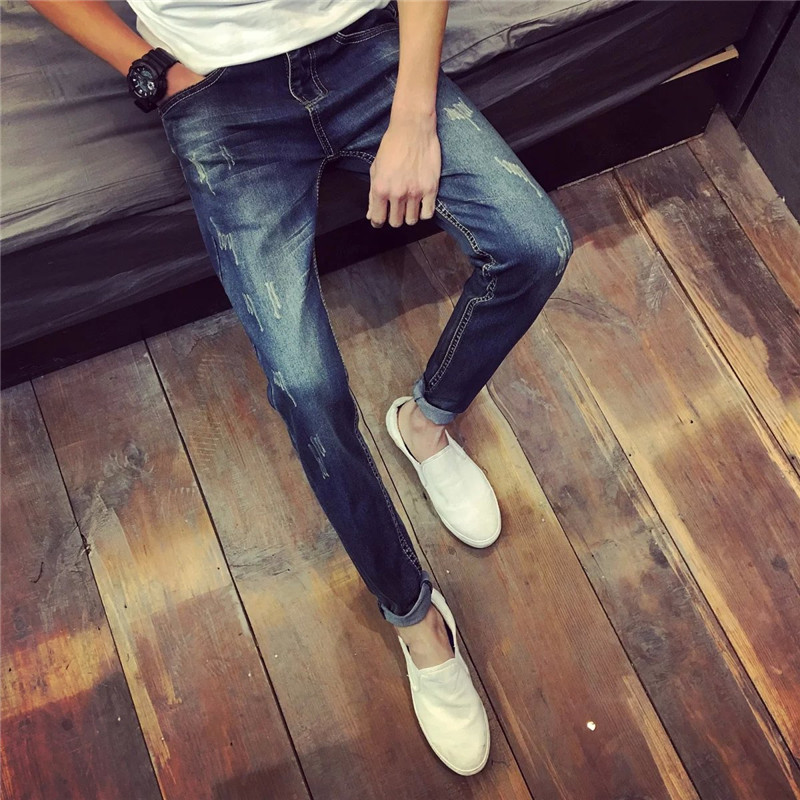 Spring And Autumn 2017 New Style MEN'S Jeans Young MEN'S Cat Whisker Korean-style Skinny Pants Fashion Man Slim Fit Long Pants