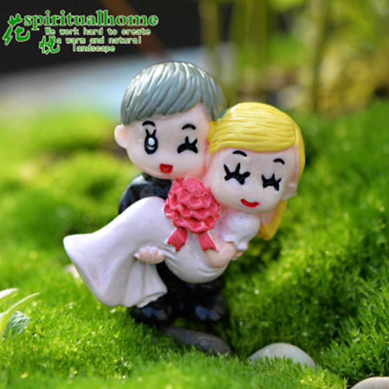 Véu do Vestido de casamento Casal Amantes Boneca Marido Esposa Namoradas Modelo Estátua Estatueta Carro Artesanato Ornamento Figura Miniaturas