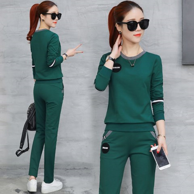 Sports WOMEN'S Suit 2018 Spring And Autumn Korean-style New Style Women's Slim Fit Long-sleeved T-shirt Crew Neck Casual Two-Pie