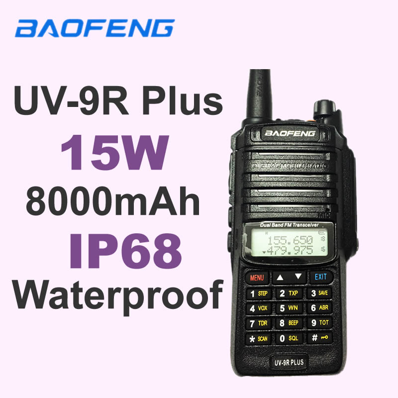 Baofeng UV-9R Plus IP68 Waterproof Walkie Talkie Long Range 25KM CB Ham Radio Hf Transceiver UHF VHF Radio Station