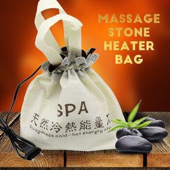 Natural Massage hot stone massage lava Natural Energy massage stone set hot spa rock basalt stone massage with heater bag 220V недорого
