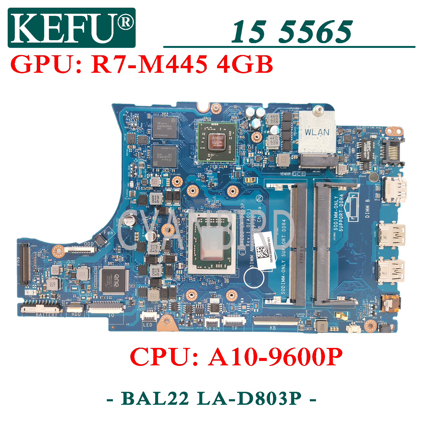 KEFU LA-D803P original mainboard for Dell Inspiron 5565 with A10-9600P R7-M445 4GB Laptop motherboard 1