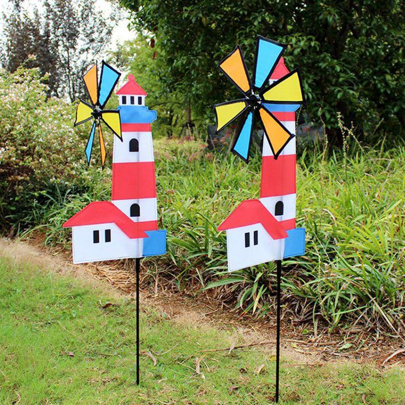 3D House Windmill Wind Spinner Whirligig Pinwheel Yard Garden Decor Outdoor Classical Kids Toys