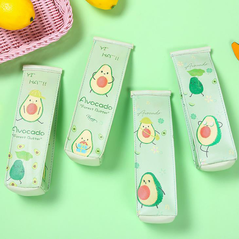 1 Pcs Kawaii Milk Box Shape Fruit Avocado Pencil Case Girls PU Large Capacity Pencil Bags Pouch Students Stationery Gifts