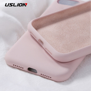 USLION Silicone Solid Color Case for iPhone SE 2020 11 Pro MAX XR X XS Max Candy Phone Cases for iPhone 7 6 6S 8 Plus Soft Cover(China)