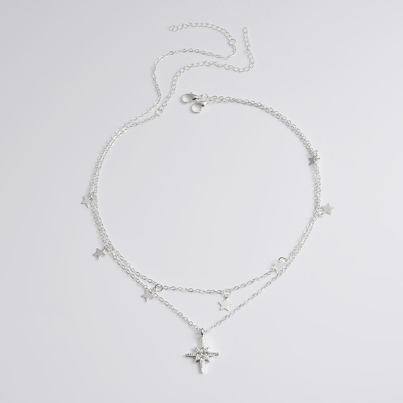 ABDOABDO Tassel Stars Necklace Jewelry Multi-layer Star Silver Color Necklace Fashion Jewelry To Send Girls Gift Collares