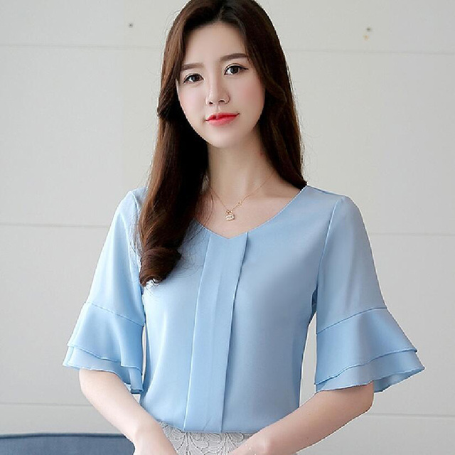 Womens Tops And Blouses Summer Flare Sleeve Chiffon Blouse Shirt Women Tops Ladies Work Wear Office Blusa Feminina Shirts 4