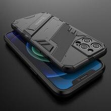 Armor Voor Apple Iphone 12 Pro Max Case Cover Shockproof Houder Phone Case Pc Siliconen Voor Iphone12 Mini Gevallen Coque funda Luxe